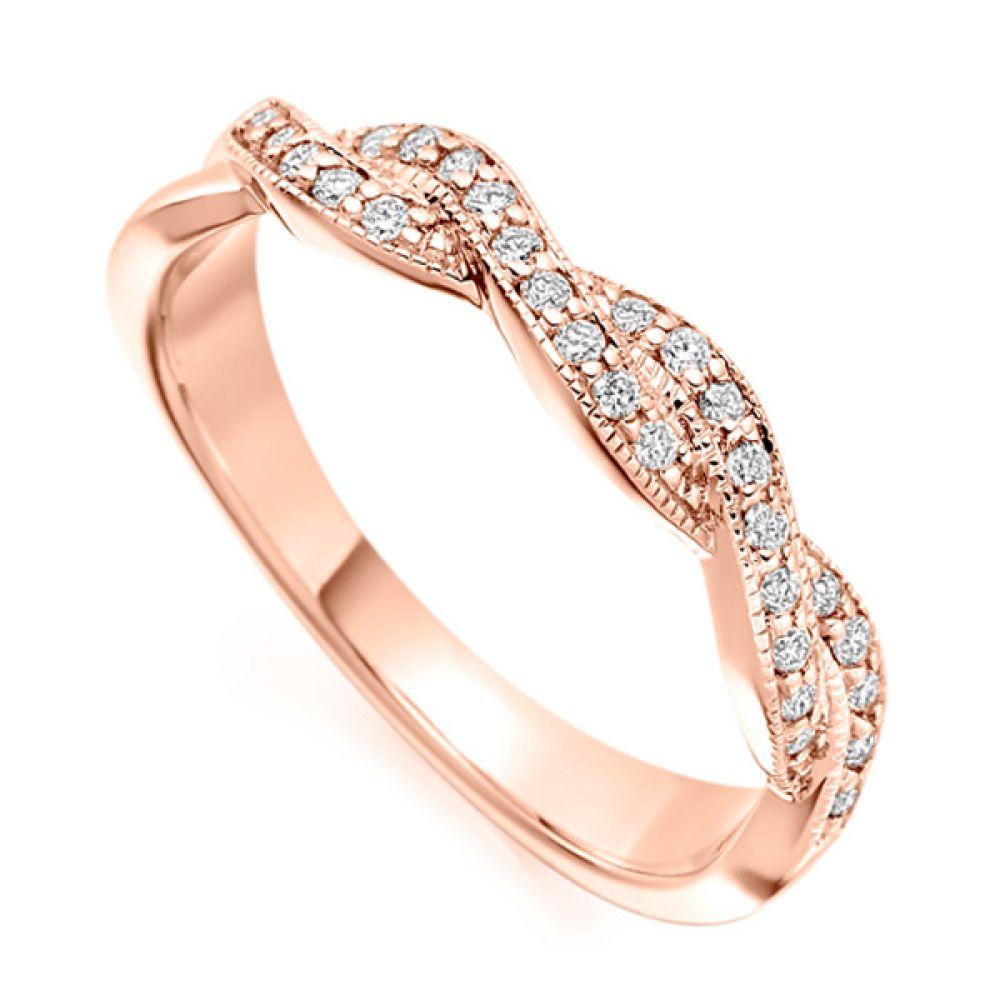Vintage diamond ribbon ring in rose gold