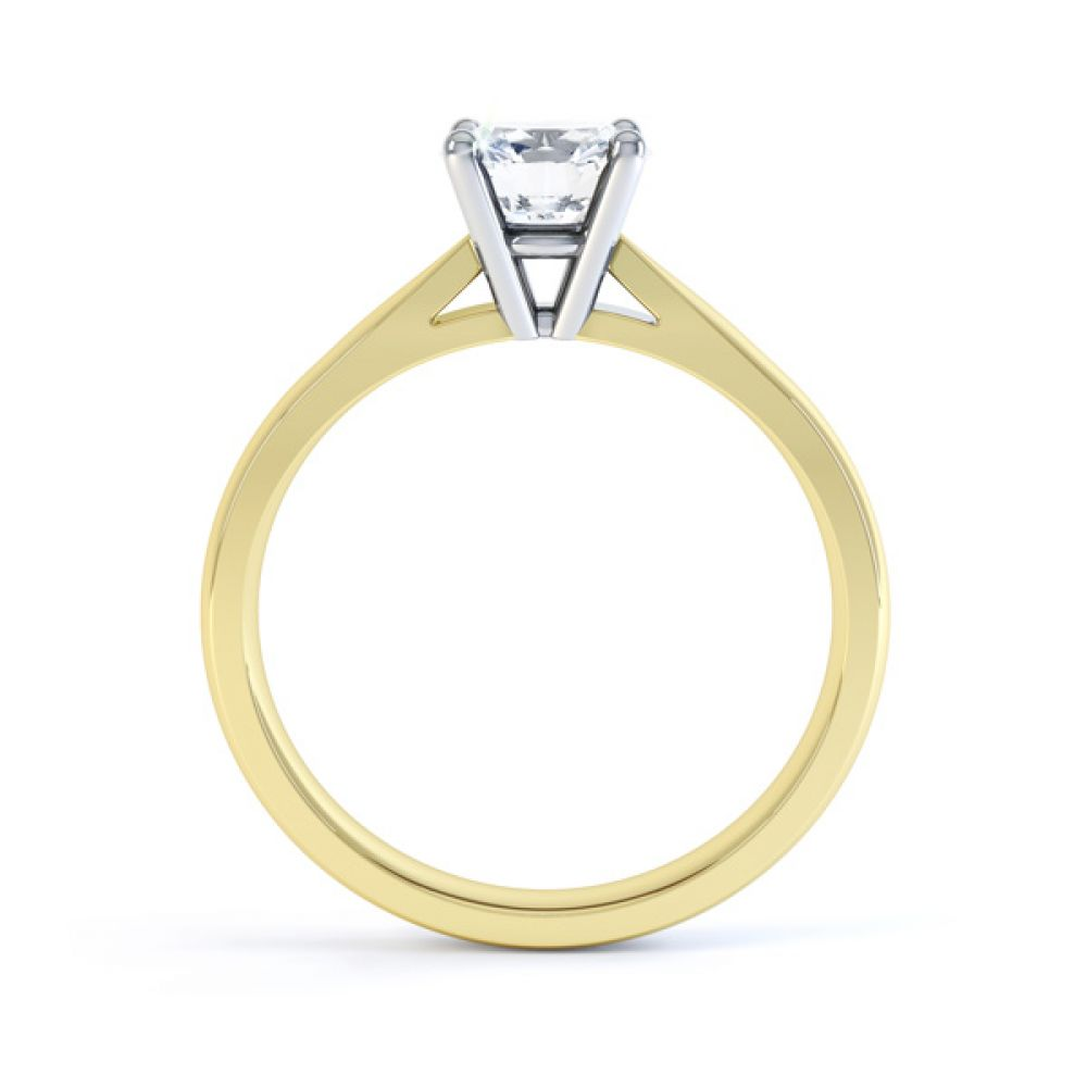 Harmony four claw solitaire engagement ring side view yellow gold