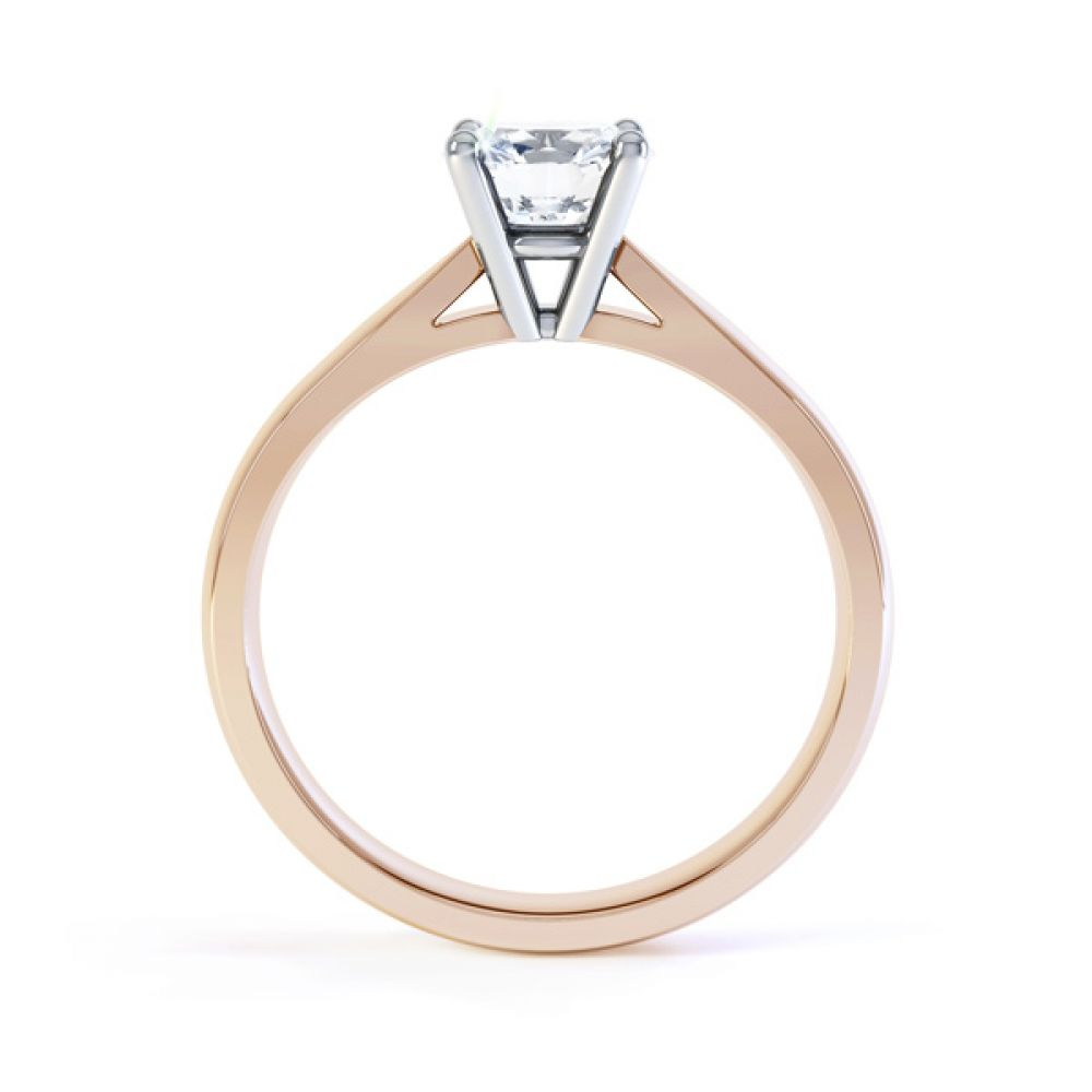 Harmony four claw solitaire engagement ring side view rose gold