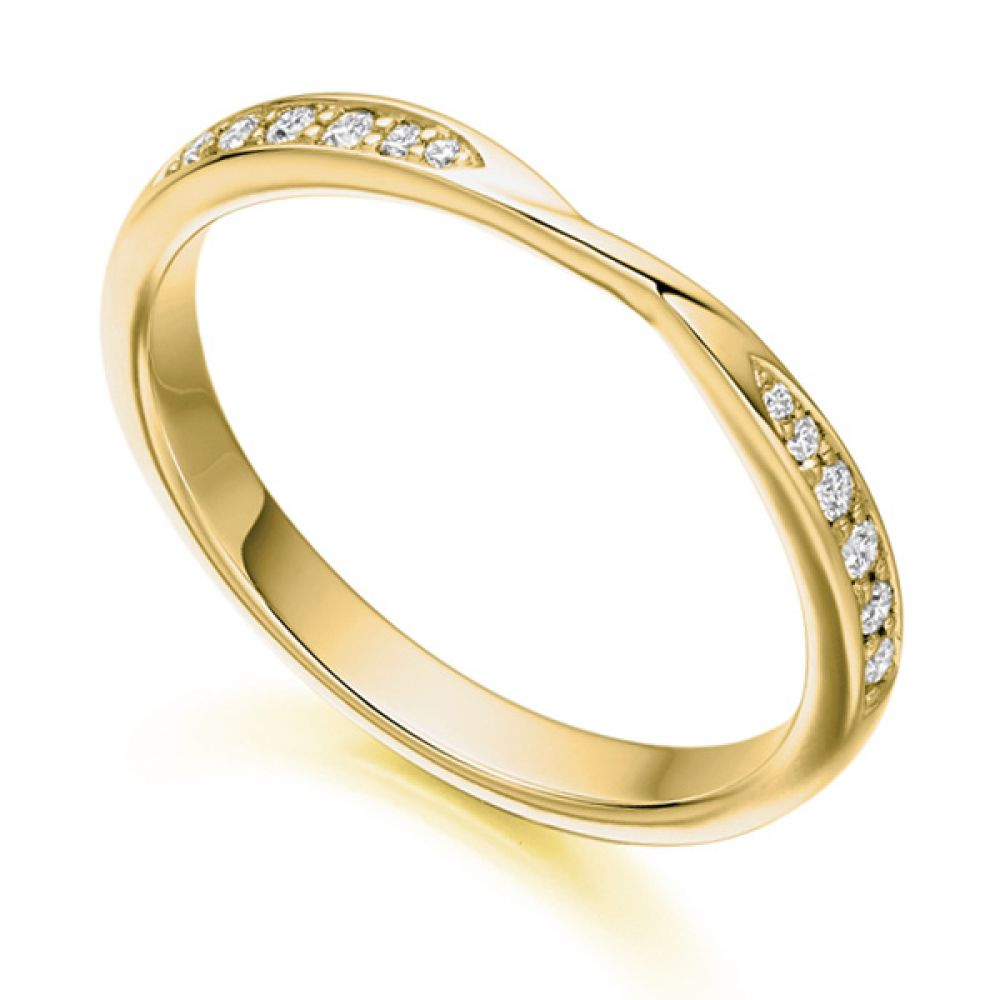 Ribbon Twist Diamond Wedding Ring in Yellow Gold