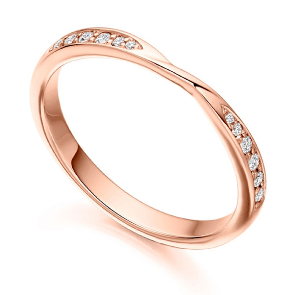 Ribbon Twist Diamond Wedding Ring in Rose Gold