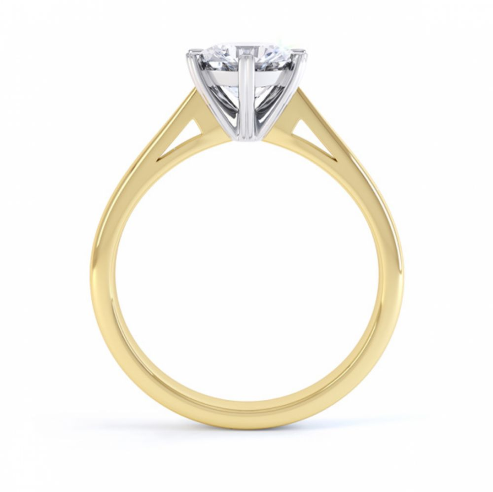 Venus engagement ring side view yellow gold