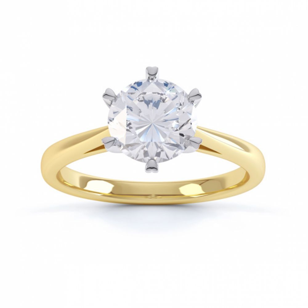 Venus engagement ring top view yellow gold