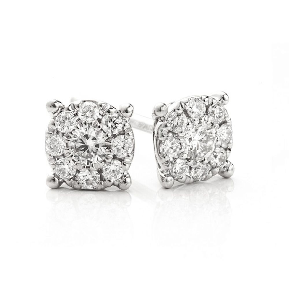 Starla solitaire effect cluster earrings