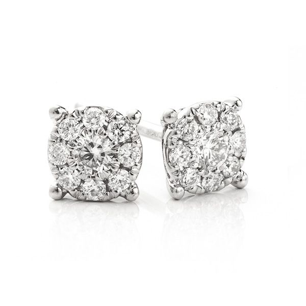 Starla Solitaire Effect Diamond Cluster Earrings Main Image