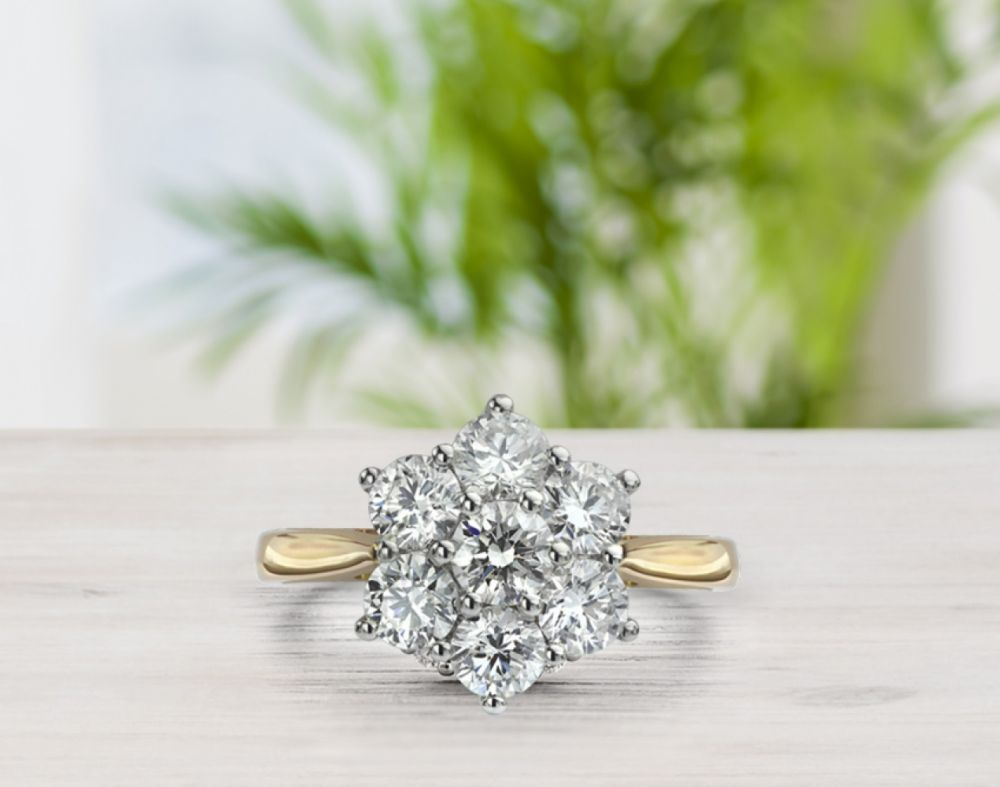 Daisy, a perfect ring for large hands with an impressive show of diamonds in higher carat weights