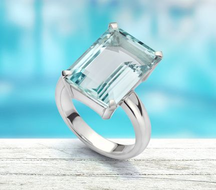 Large Emerald Cut Aquamarine Ring
