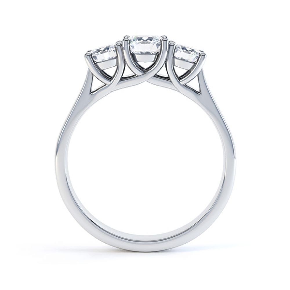 Brooklyn - Modern 3 stone diamond engagement ring side view white gold