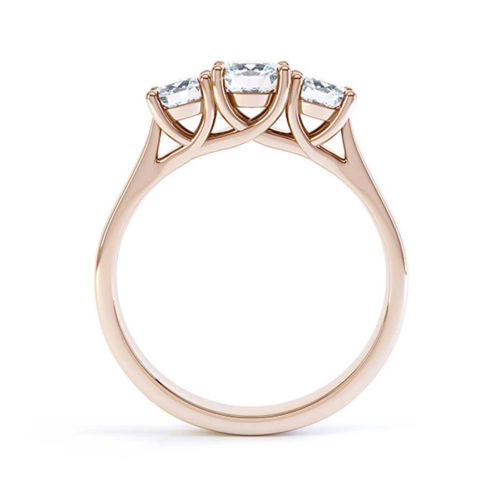 Brooklyn - Modern 3 stone diamond engagement ring side view rose gold