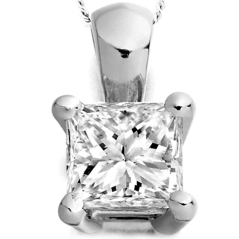 Four Claw Princess Cut Diamond Pendant