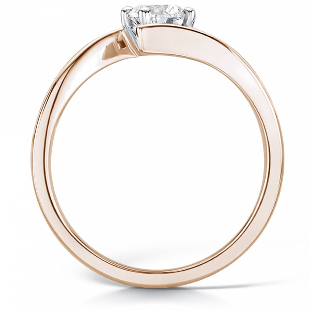 Crossover solitaire diamond engagement ring rose gold side view