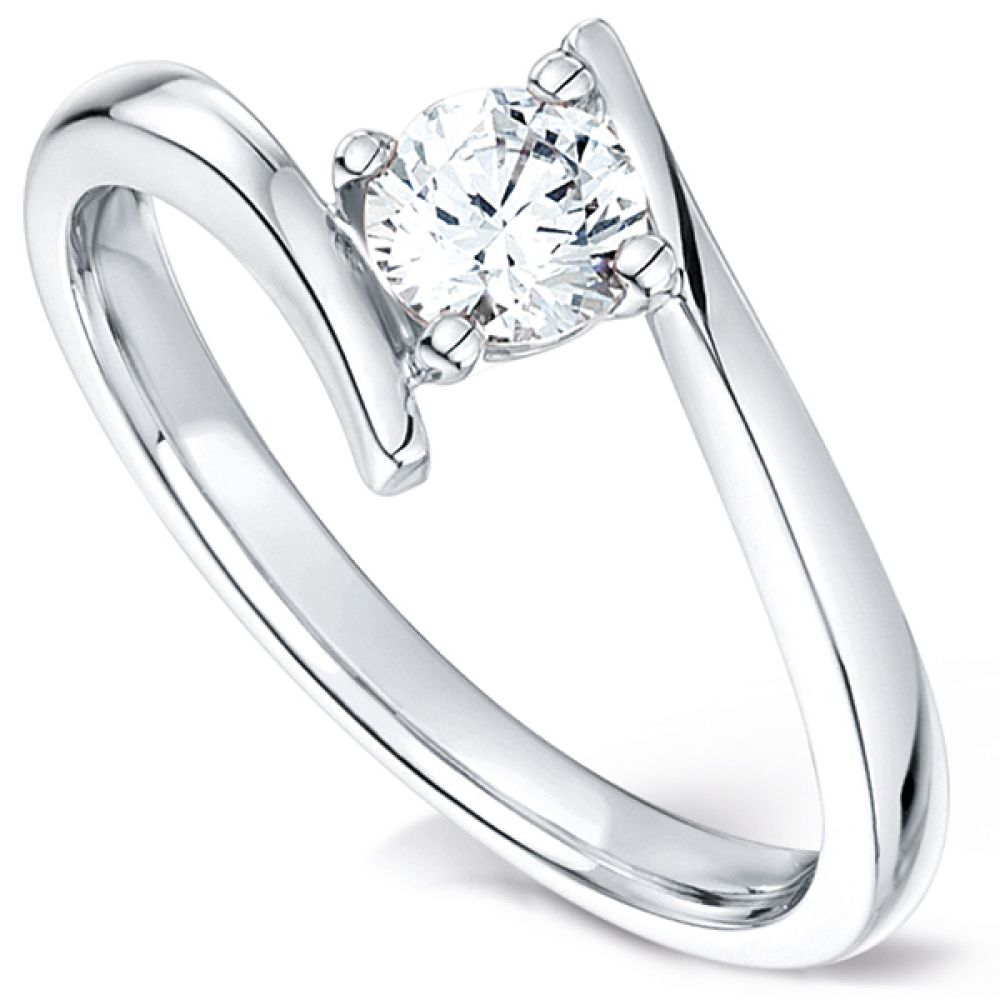 Crossover shoulder diamond solitaire engagement ring R1H063