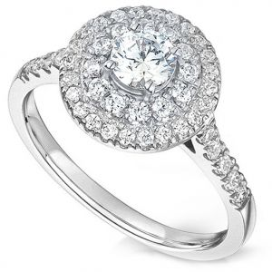 Double Halo Round Diamond Engagement Ring Main Image