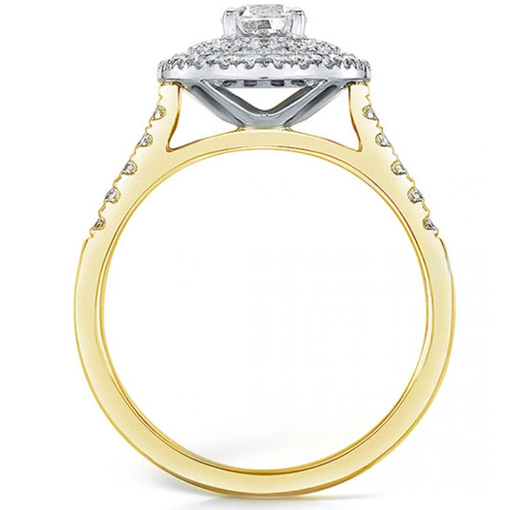 Double halo diamond ring in yellow gold