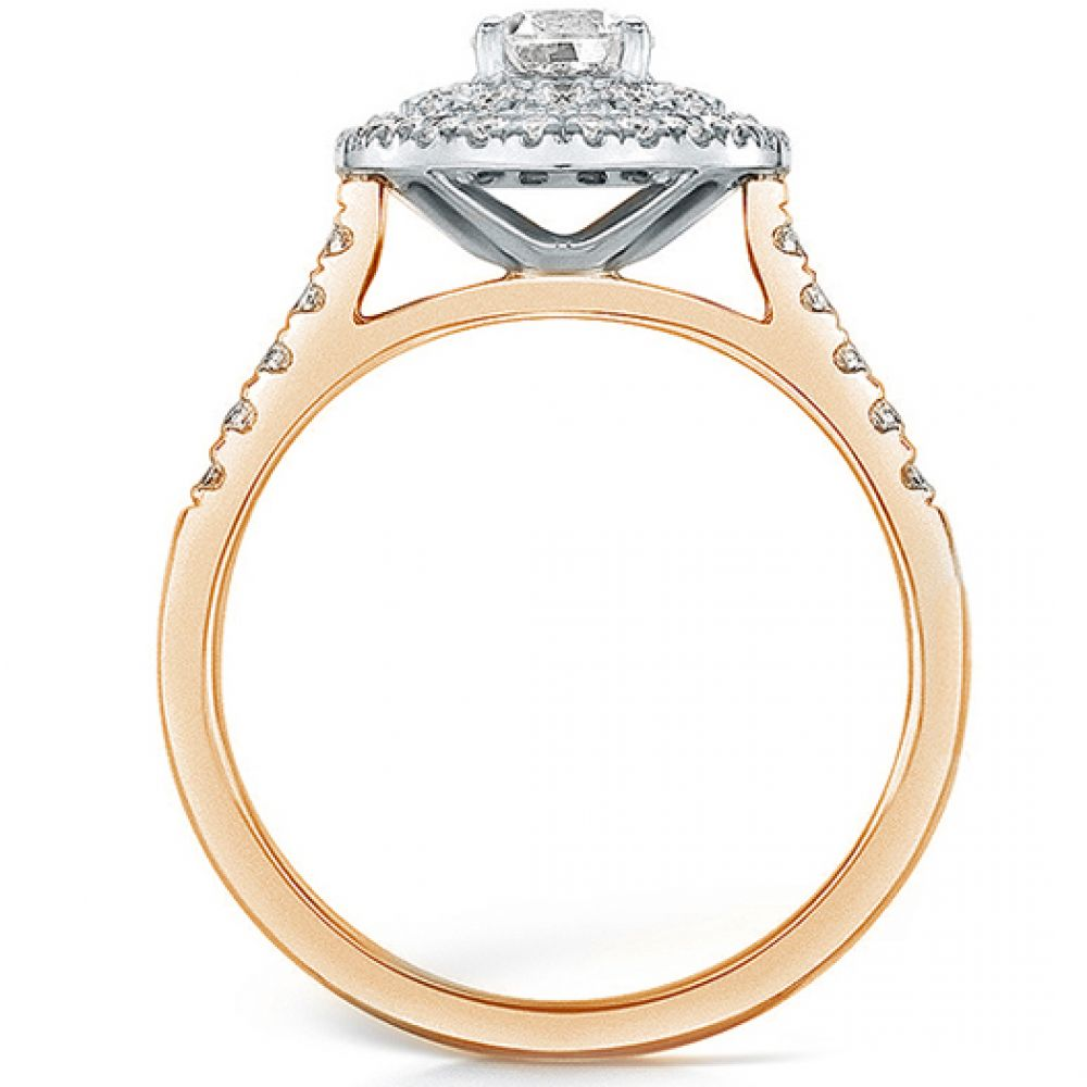 Double halo diamond ring in rose gold