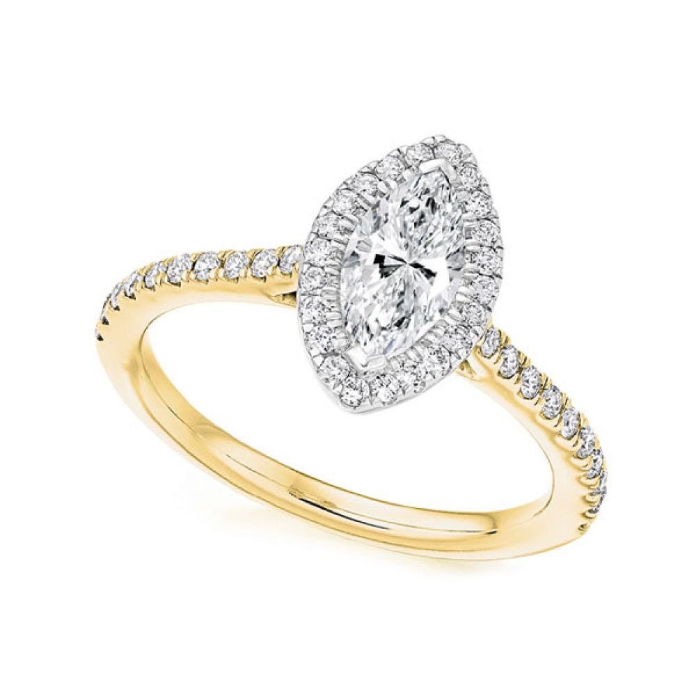 Marquise Diamond Halo Engagement Ring Yellow Gold