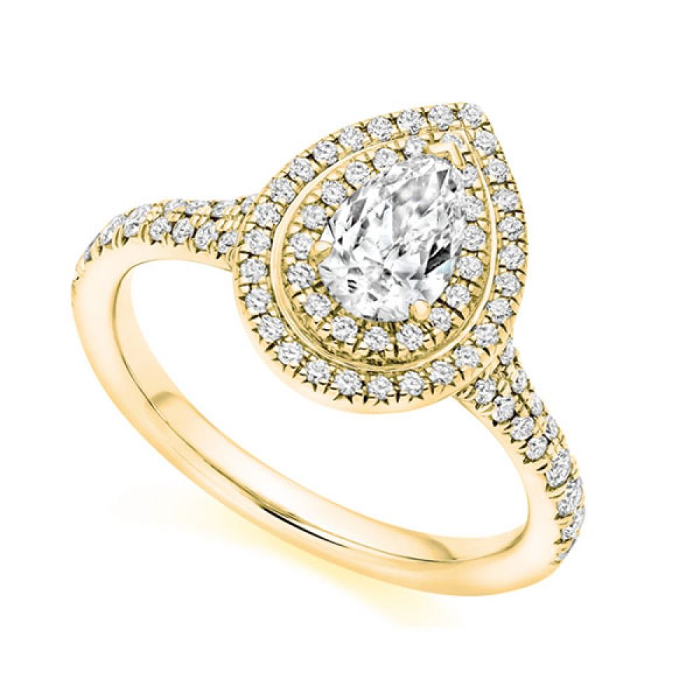 Pear double halo diamond ring