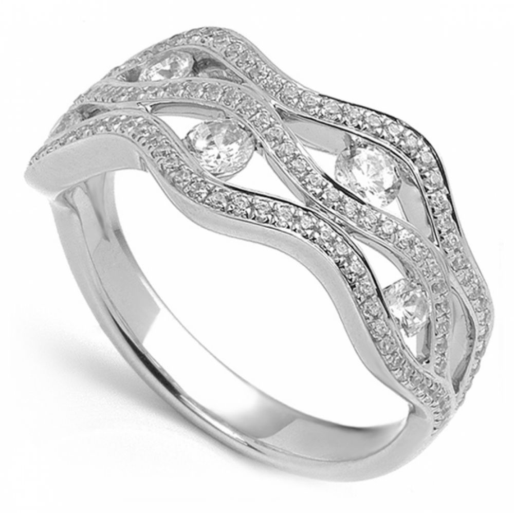 wave styled ring with grain set diamond bands