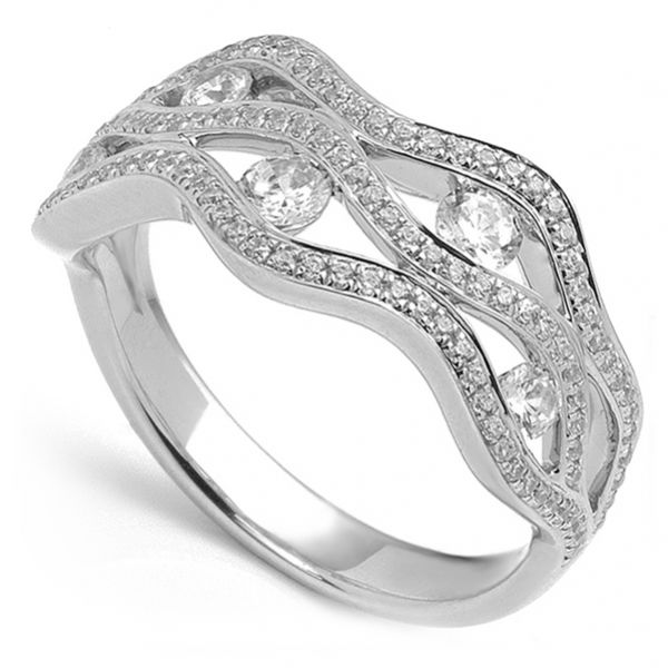 1 Carat Grain Set Diamond Wave Ring Main Image