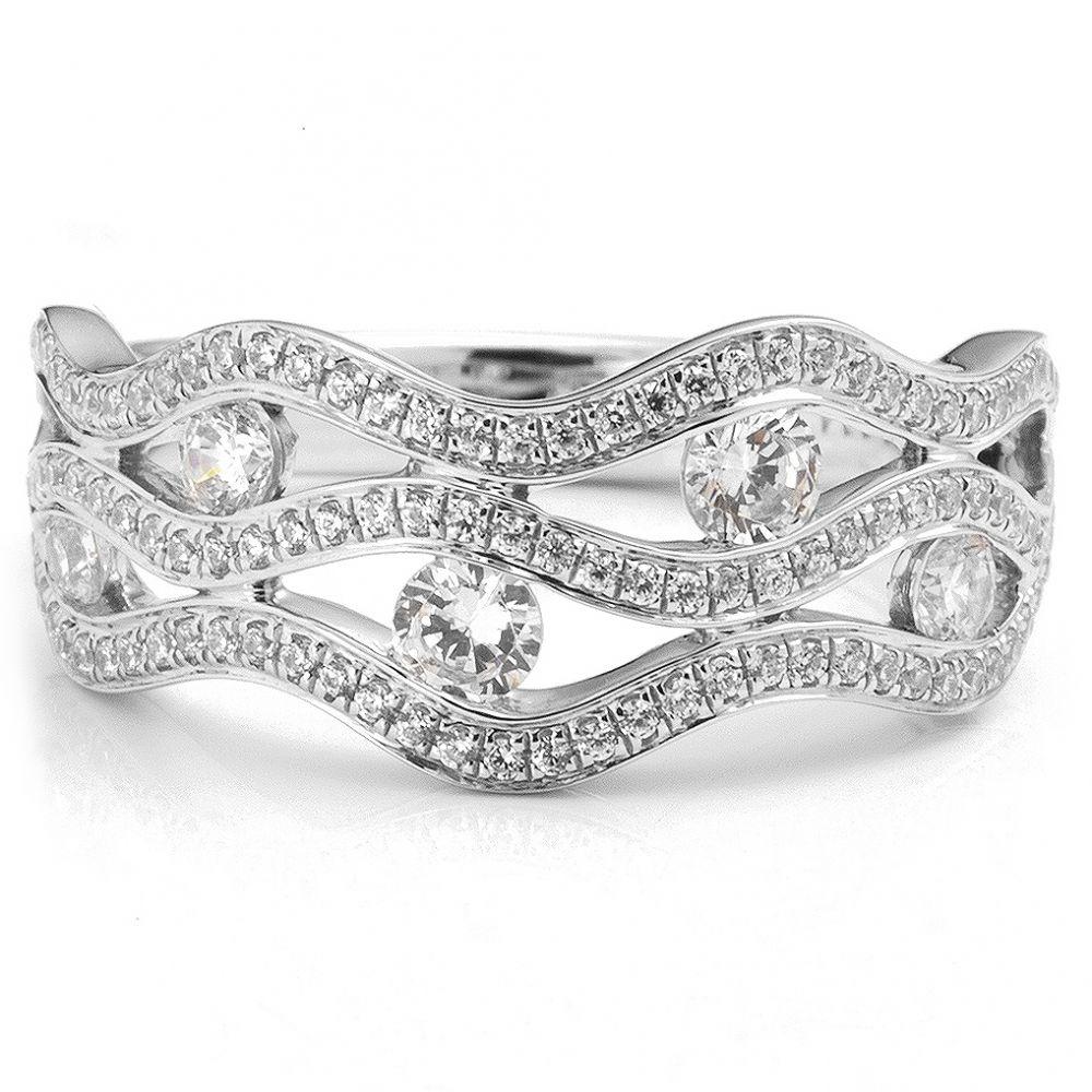 diamond wave ring with tension set diamonds