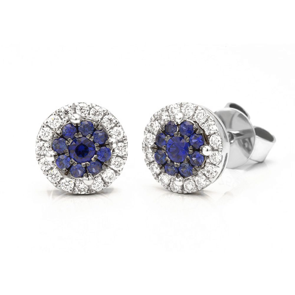 Sapphire and blue diamond halo effect diamond stud earrings