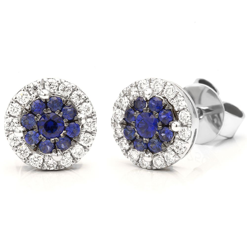 Starla halo effect blue sapphire and diamond earrings