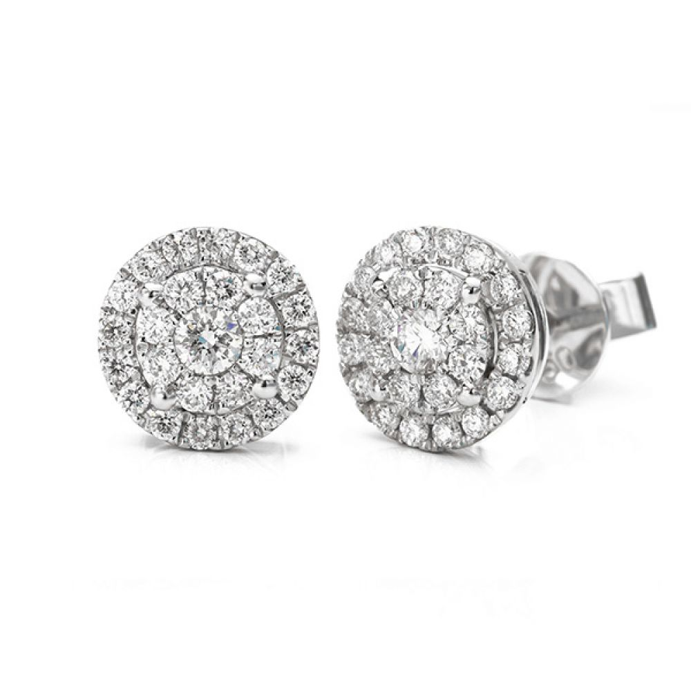 Starla constellation diamond solitaire effect cluster earrings