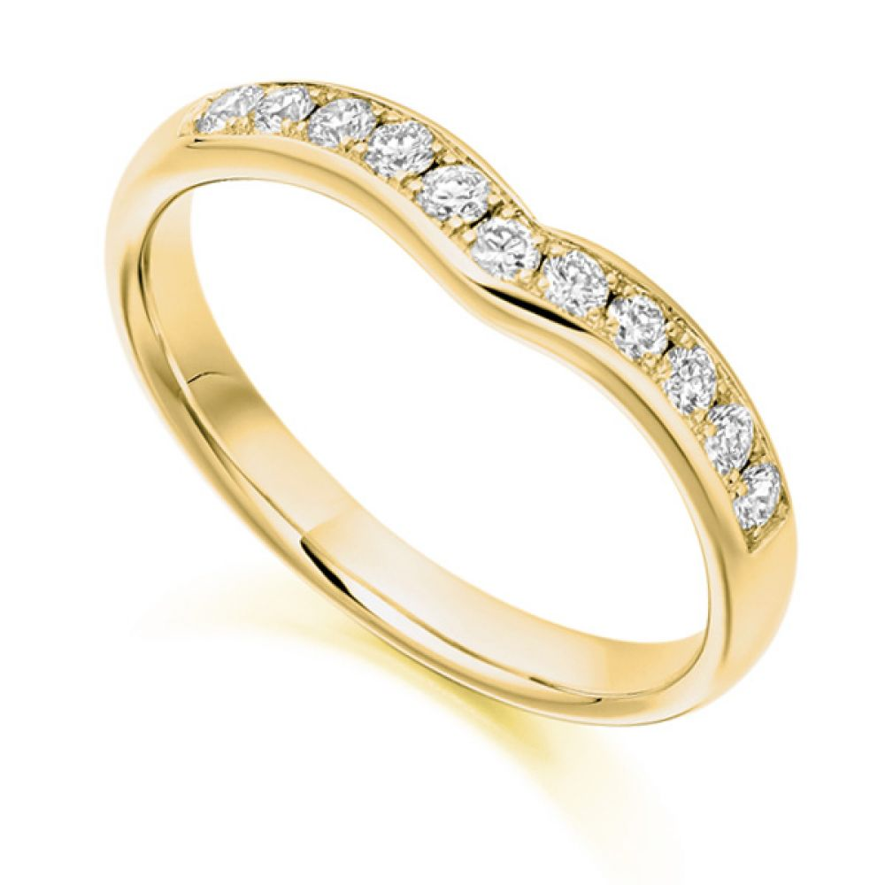 Curved shaped diamond wedding band, Yellow gold