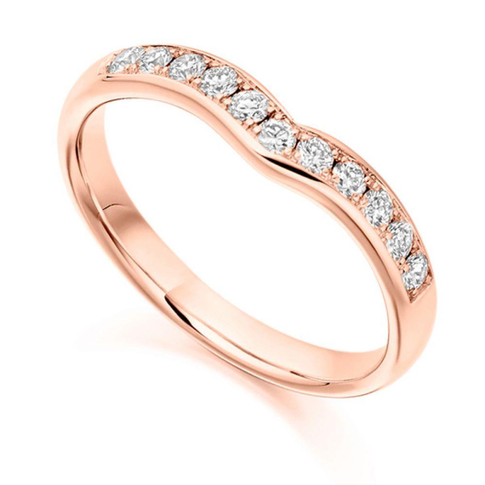 Curved shaped diamond wedding band, Yellow gold