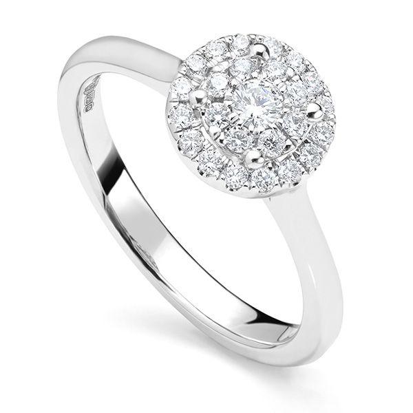 Illusion Diamond Halo Engagement Ring Main Image