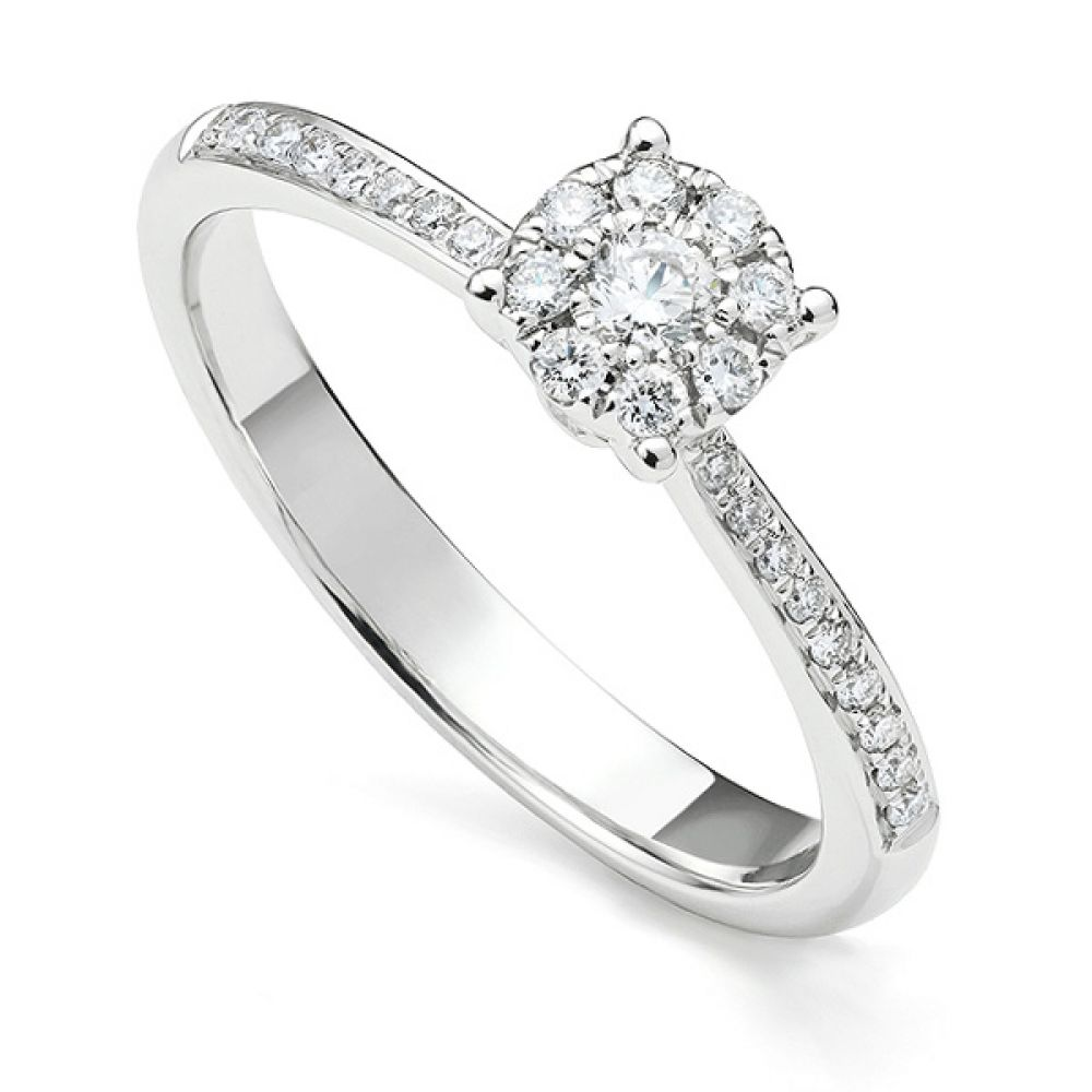 Starla solitaire effect diamond engagement ring with diamond shoulders