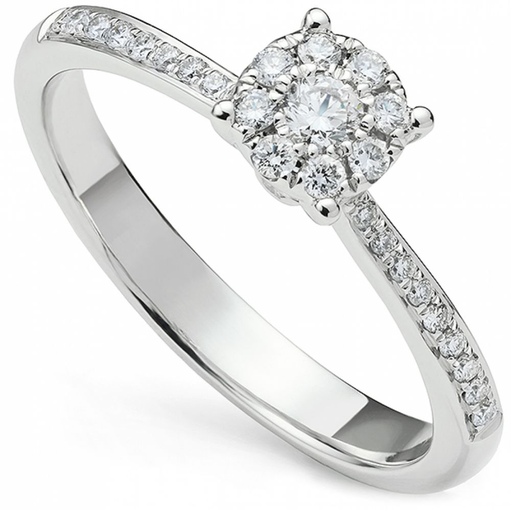 Starla engagement ring with diamond shoulders