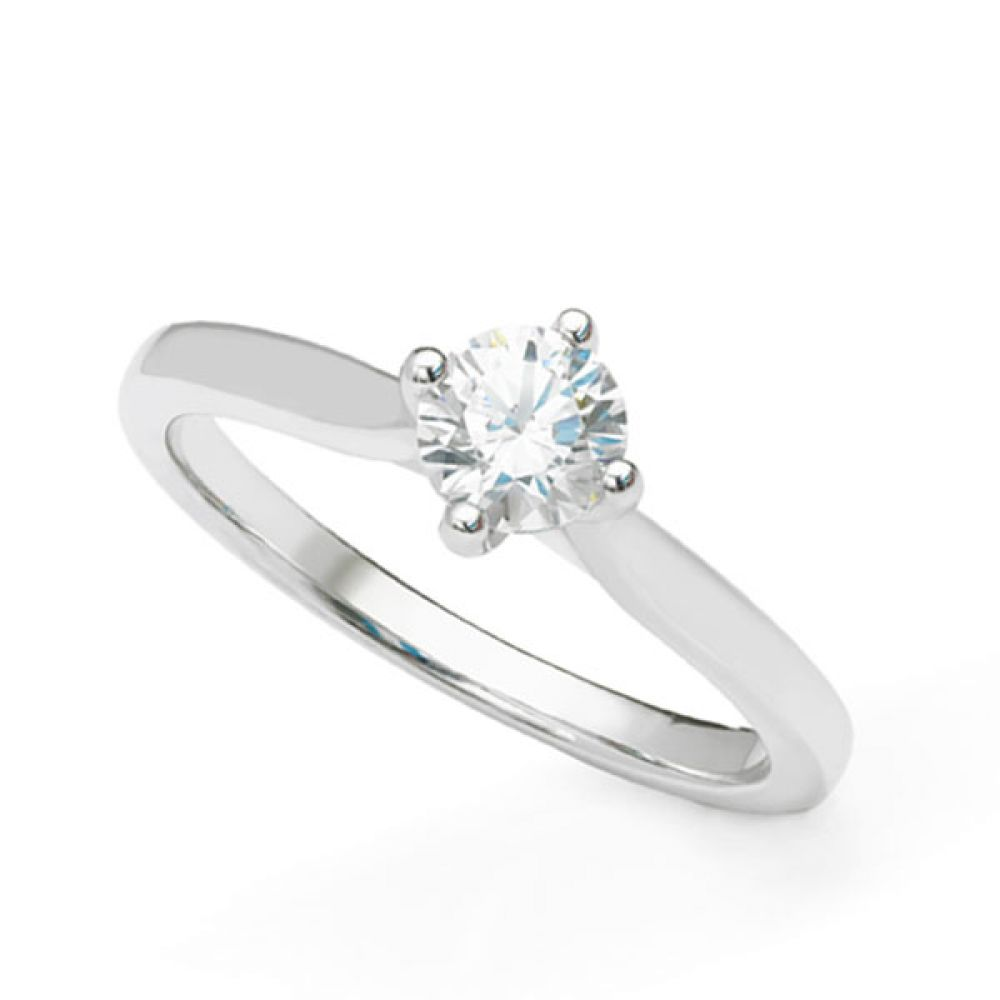 Round solitaire diamond engagement ring with wedding ring friendly setting