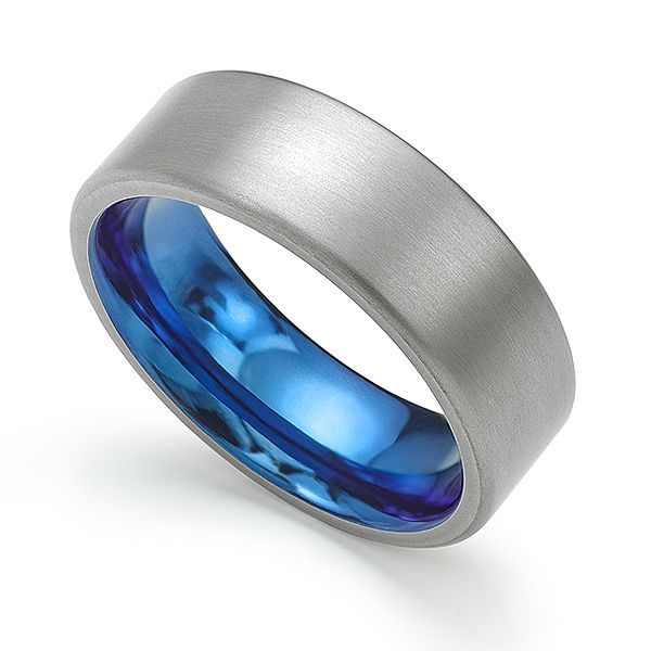 Denim Blue Zirconium Wedding Ring Main Image