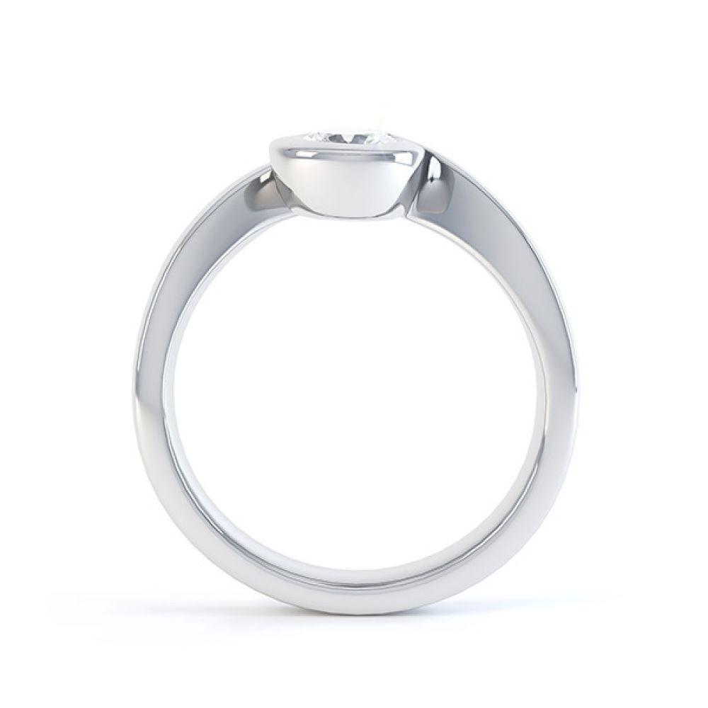 Asymmetrical engagement ring white gold side view