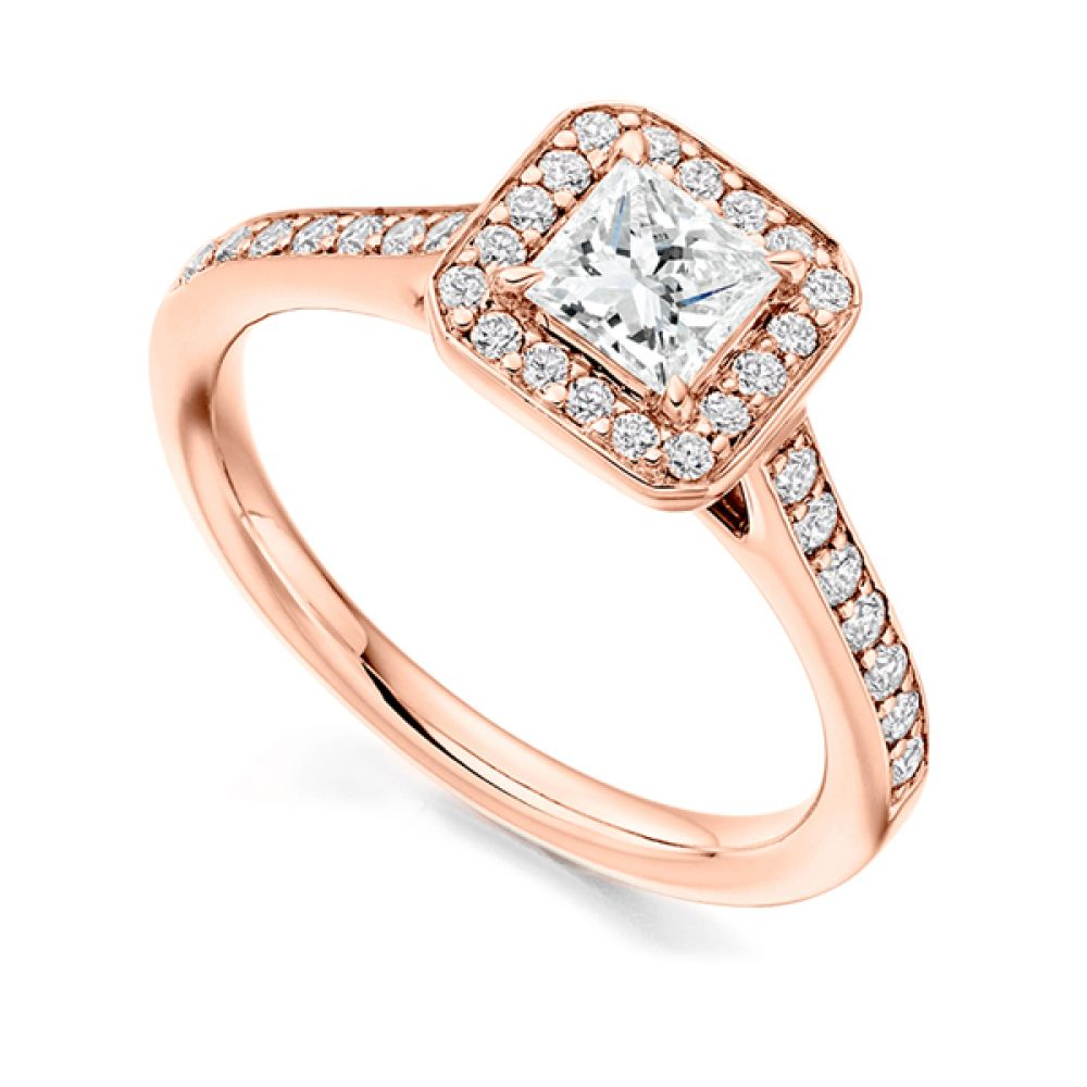 Princess Diamond Halo Engagement Ring - Rose