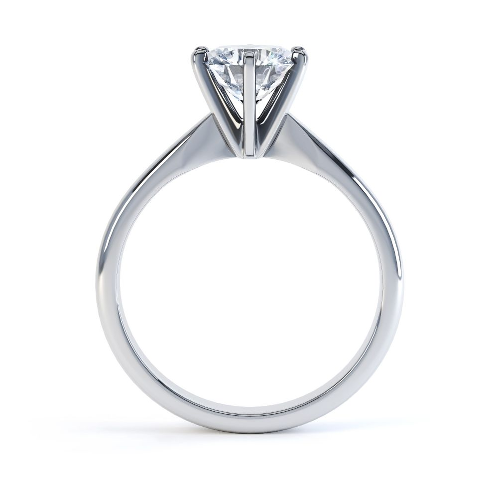 Tiffany style 6 claw solitaire engagement ring white gold