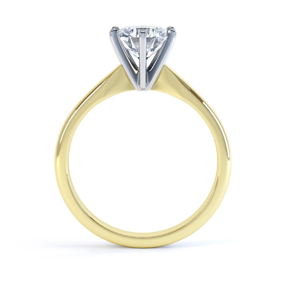 Tiffany style 6 claw solitaire engagement ring yellow gold