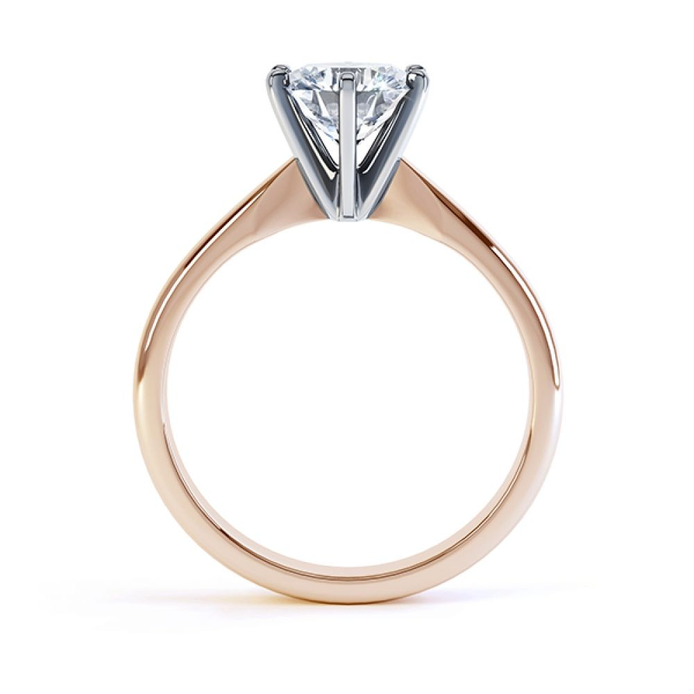 Tiffany style 6 claw solitaire engagement ring rose gold