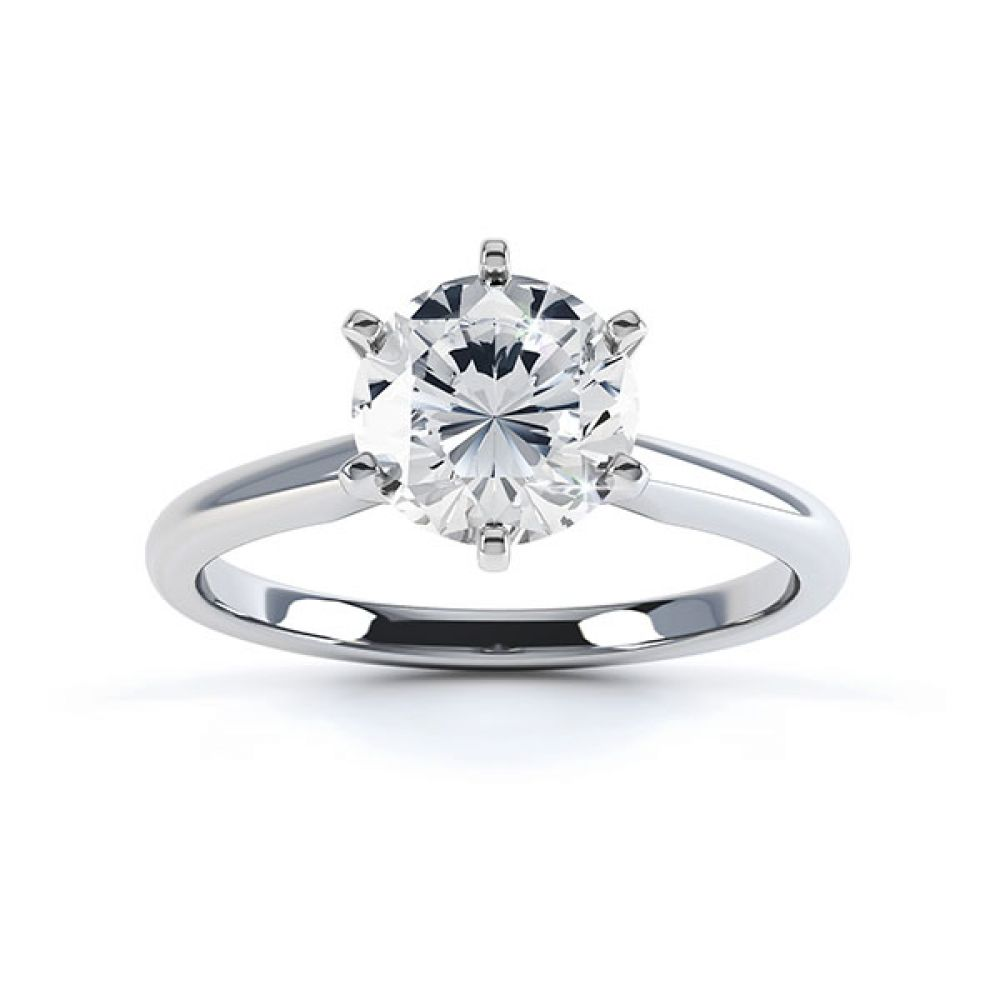 Tiffany style 6 claw solitaire engagement ring white gold top view