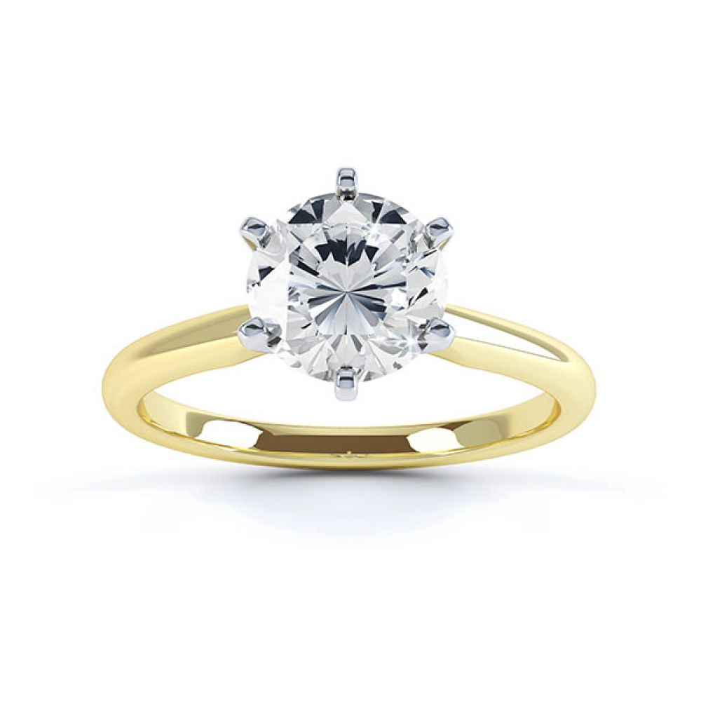 Tiffany style 6 claw solitaire engagement ring yellow gold top view