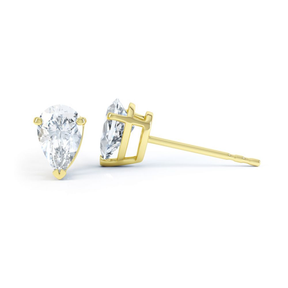 Pear Shaped Diamond Solitaire Earrings Side View Yellow Gold