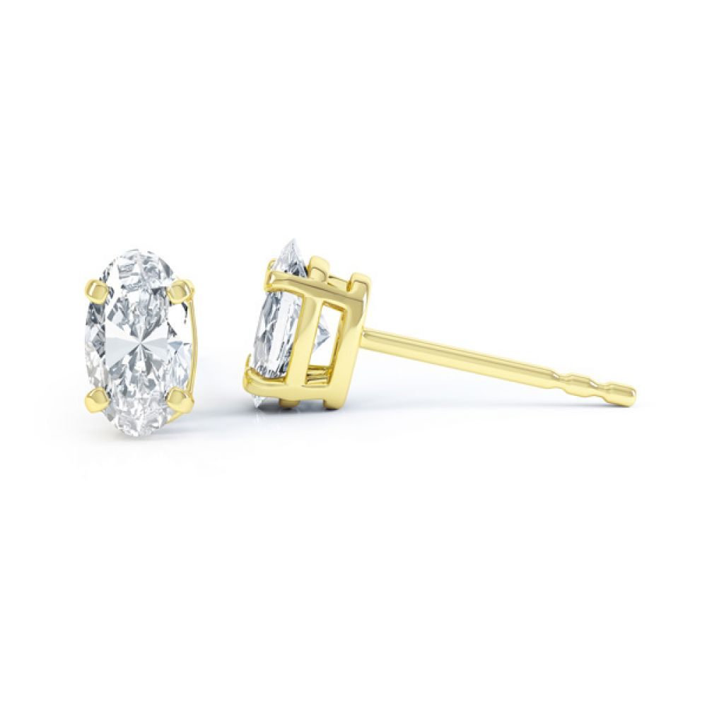 4 Claw Oval Solitaire Diamond Stud Earrings Side View yellow Gold