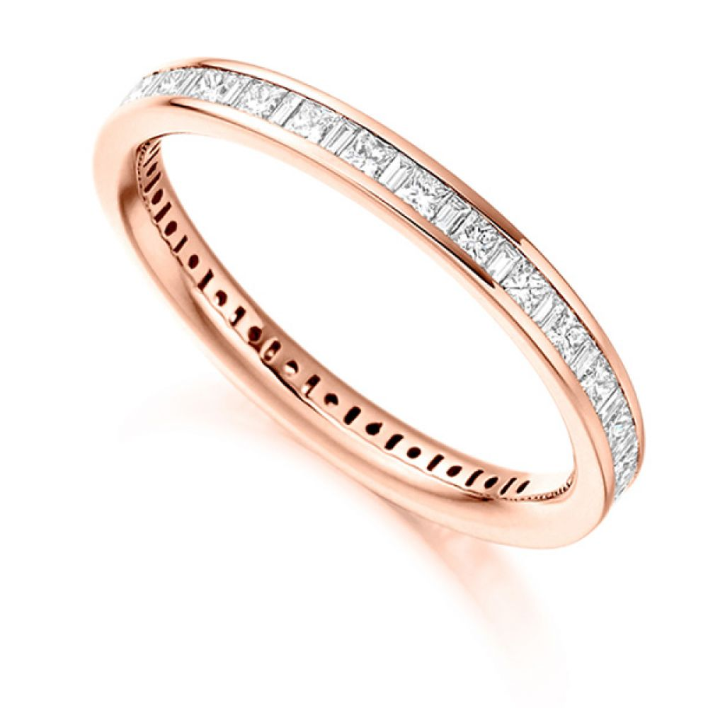 1 Carat Baguette and Princess Diamond Full Eternity Ring In Rose Gold