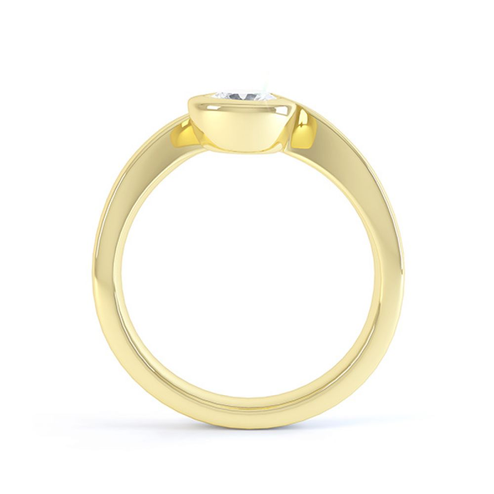 Asymmetrical engagement ring yellow gold side view