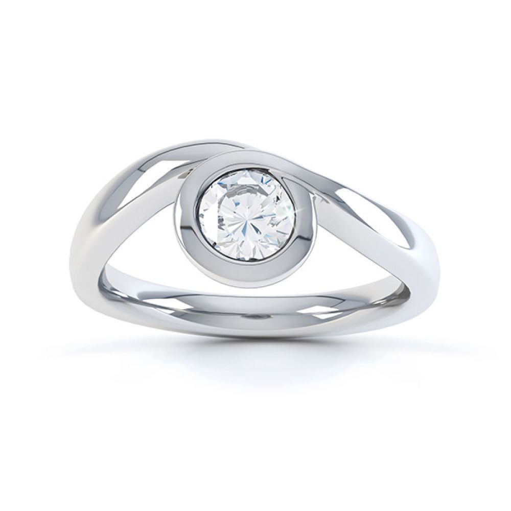 Asymmetrical engagement ring white gold top view