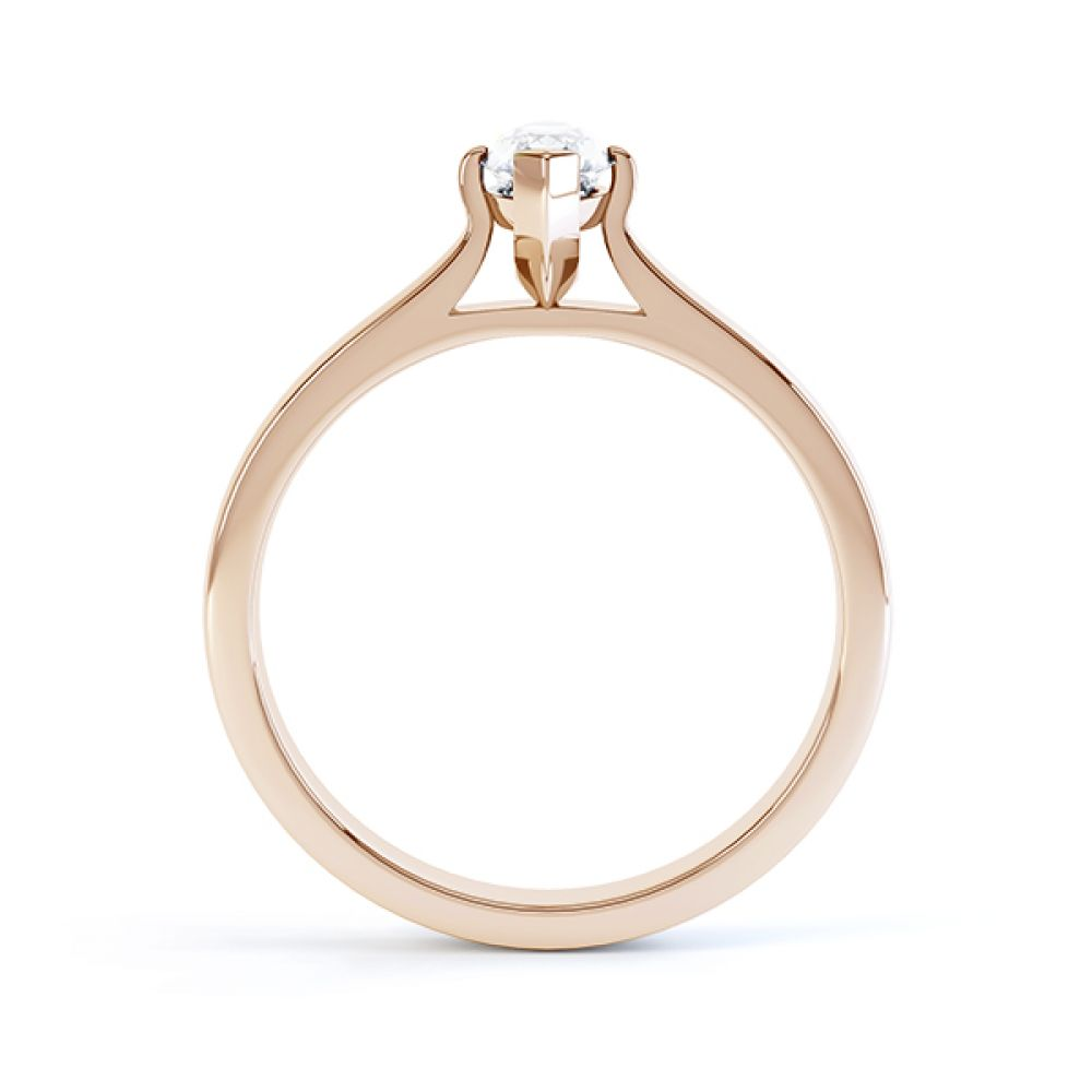 Rose gold side view of the marquise solitaire Irisia design