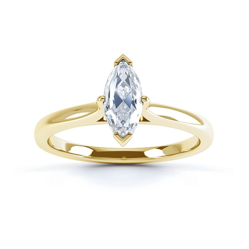 Yellow gold top view of the marquise solitaire Irisia design