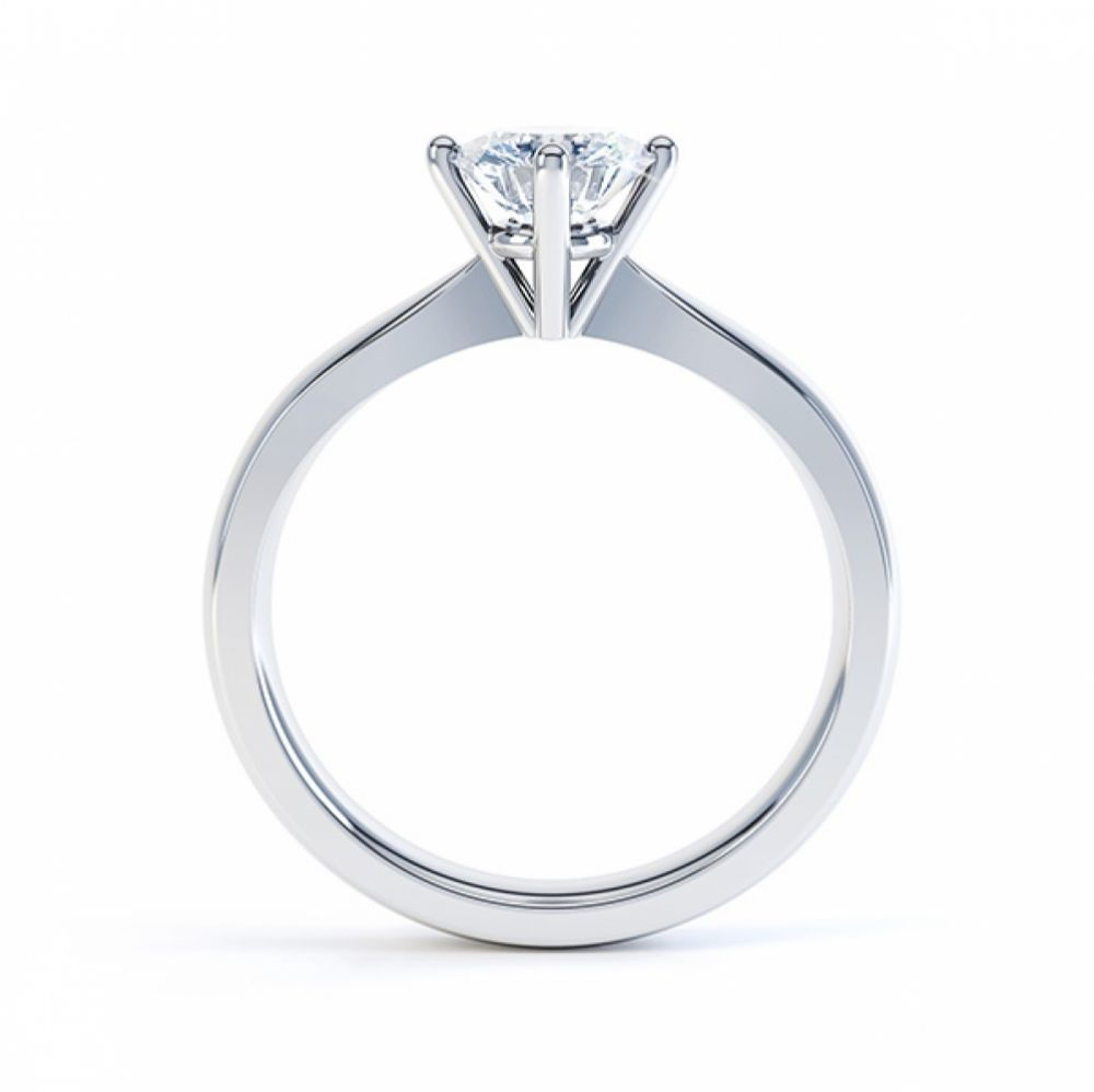 Compass Set Four Claw Round Solitaire Diamond Ring Side View White Gold