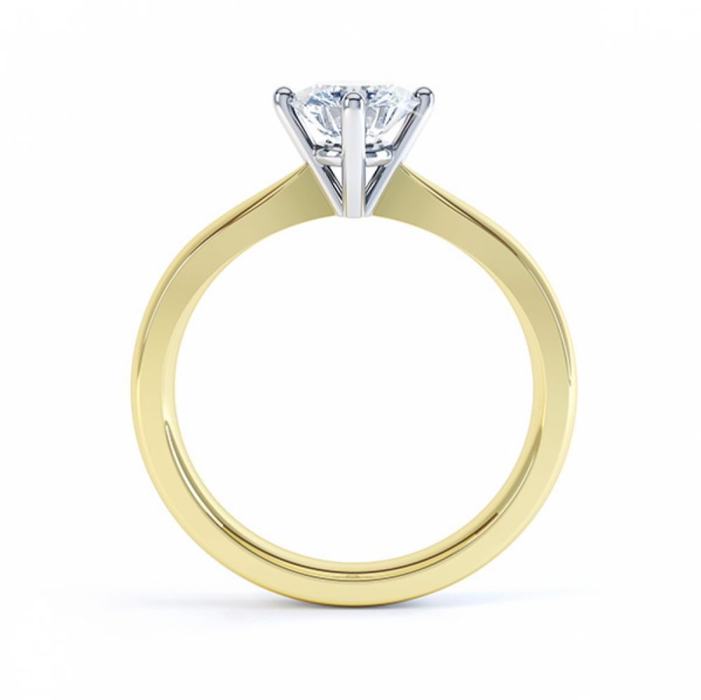 Compass Set Four Claw Round Solitaire Diamond Ring Side View Yellow Gold